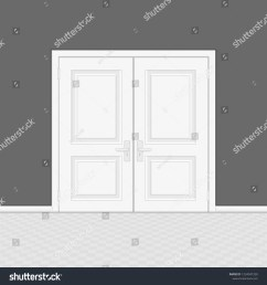 closed entrance door with frame realistic style white interior wooden doors on gray wall [ 1500 x 1600 Pixel ]