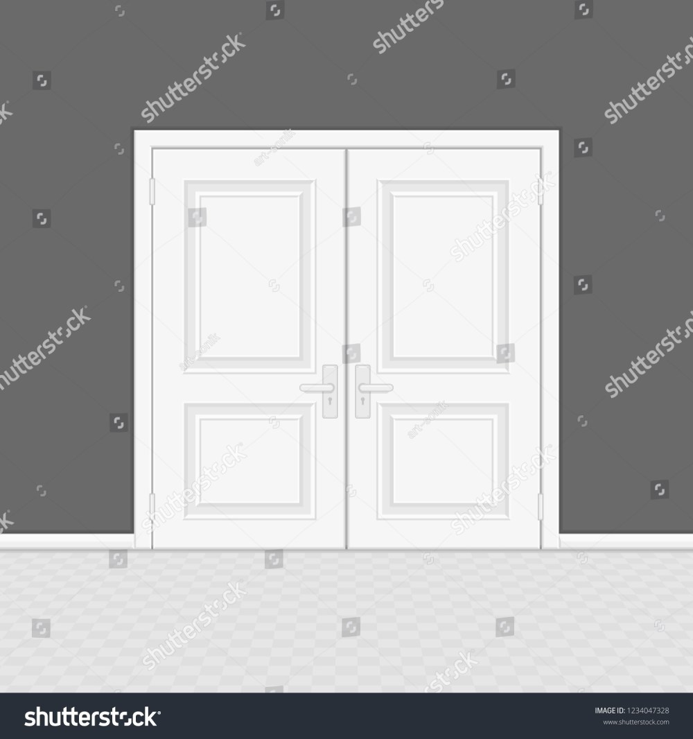 medium resolution of closed entrance door with frame realistic style white interior wooden doors on gray wall