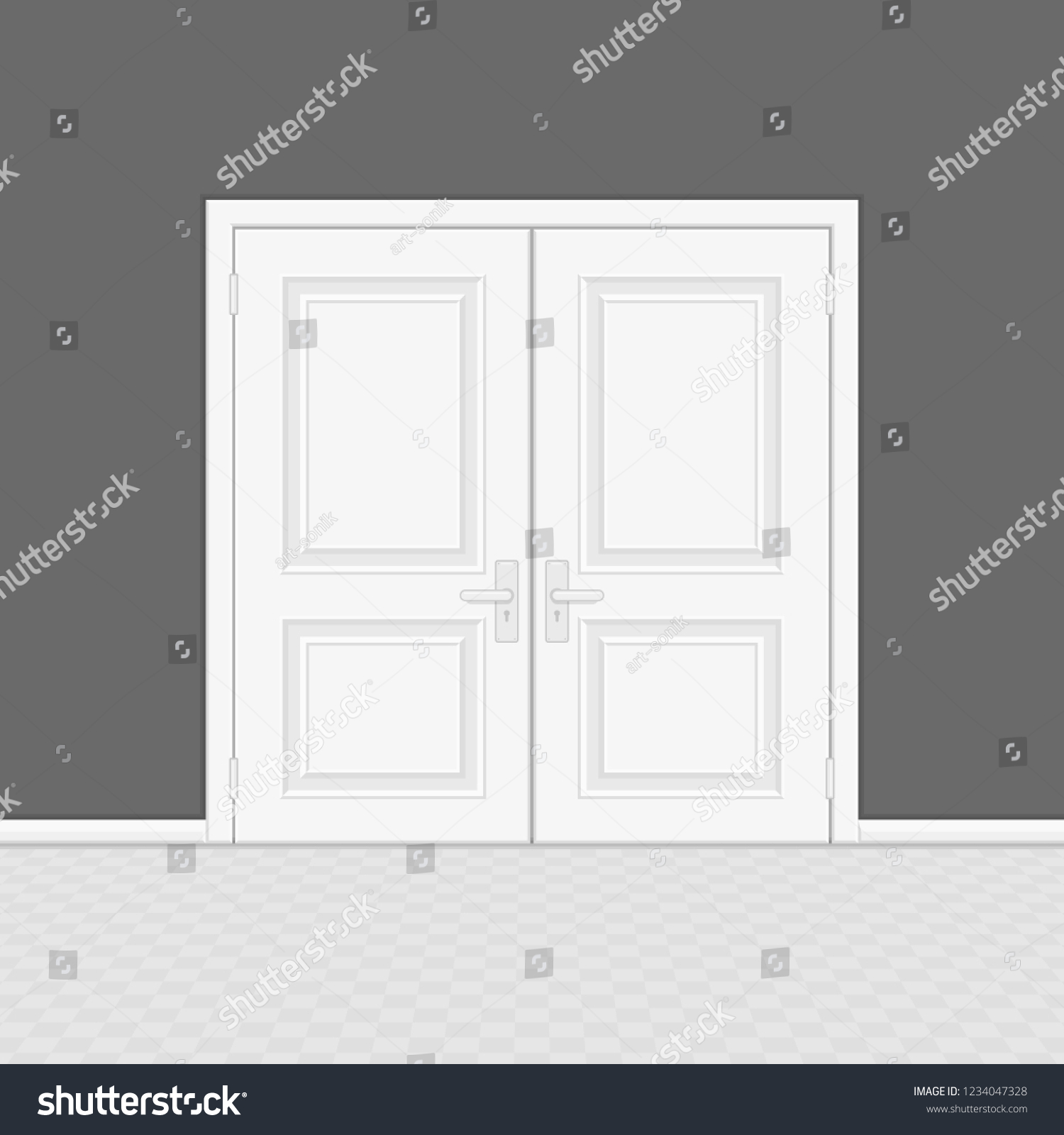 hight resolution of closed entrance door with frame realistic style white interior wooden doors on gray wall