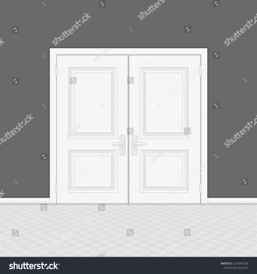 small resolution of closed entrance door with frame realistic style white interior wooden doors on gray wall