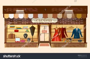 clothing clothes building interior mall shopping showcase vector cartoon facade shutterstock