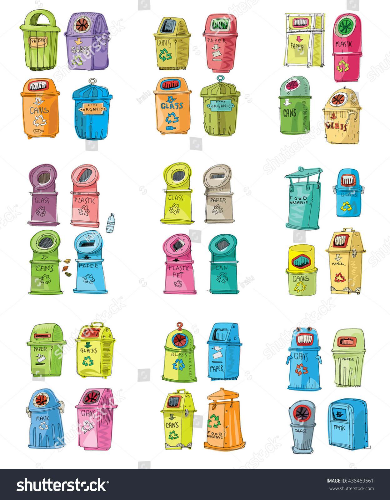 Collection Different Trash Cans