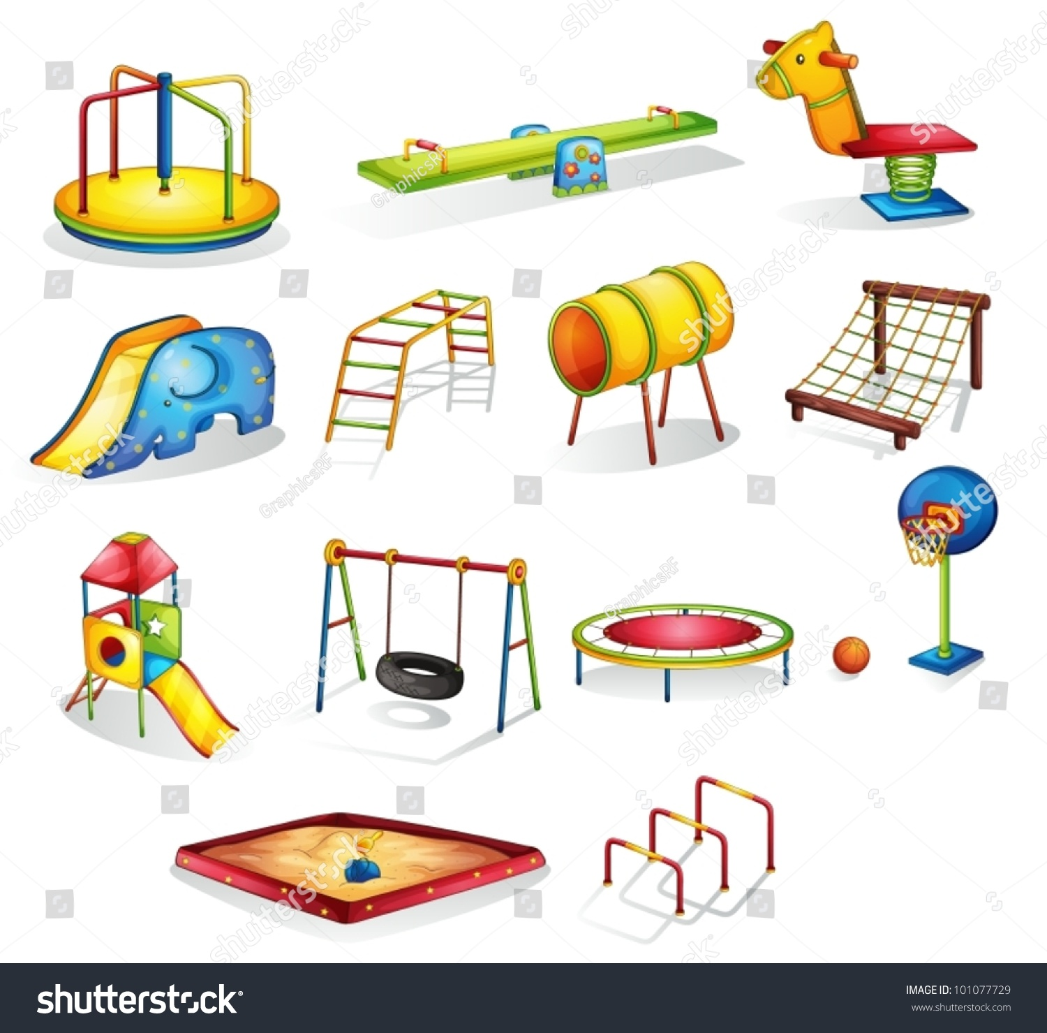 Collection Isolated Play Equipment Stock Vector