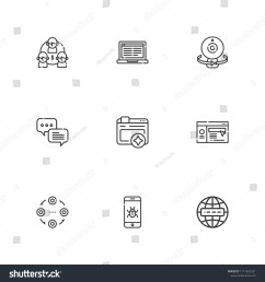 collection of 9 network outline icons include icons such as internet malware browser webcam website structure chat laptop vector [ 1500 x 1600 Pixel ]