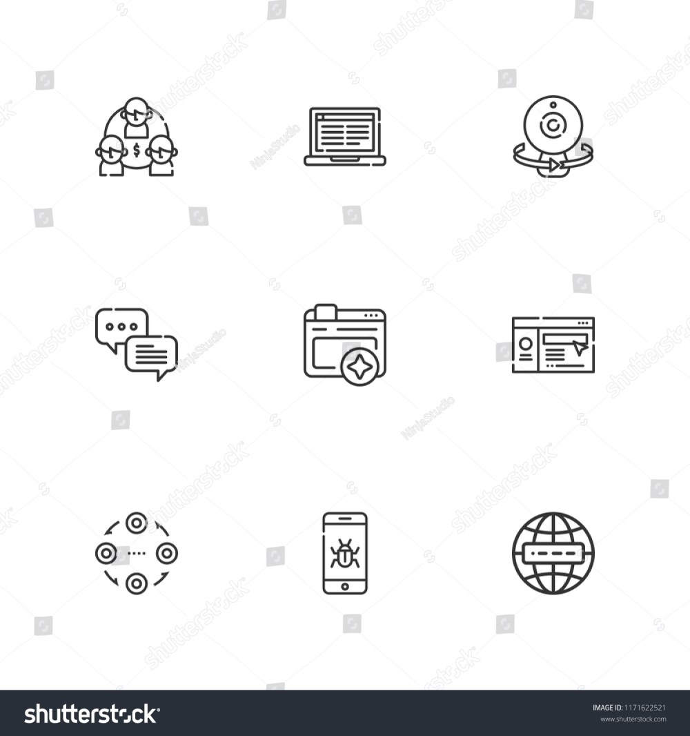 medium resolution of collection of 9 network outline icons include icons such as internet malware browser webcam website structure chat laptop vector