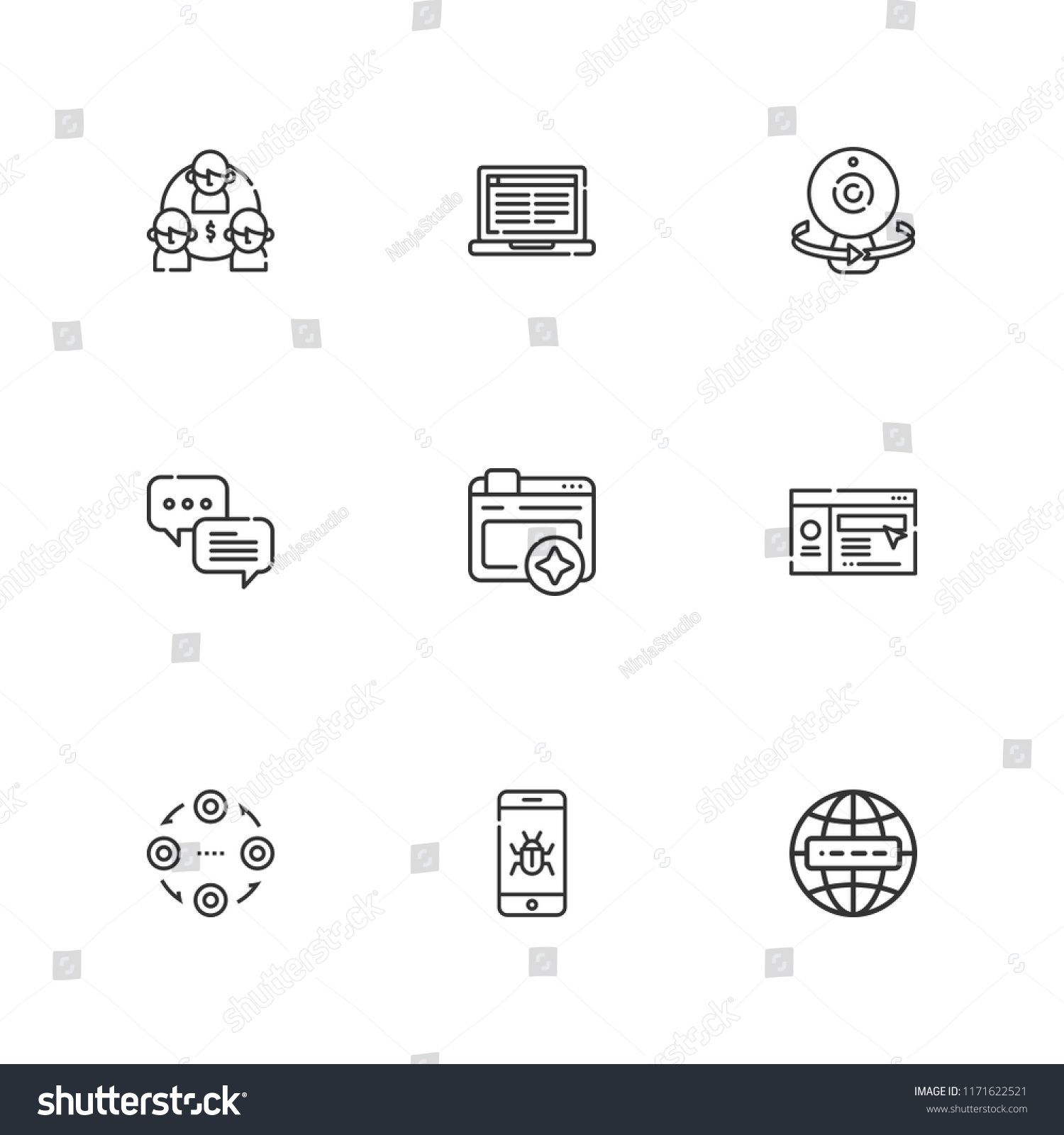 hight resolution of collection of 9 network outline icons include icons such as internet malware browser webcam website structure chat laptop vector