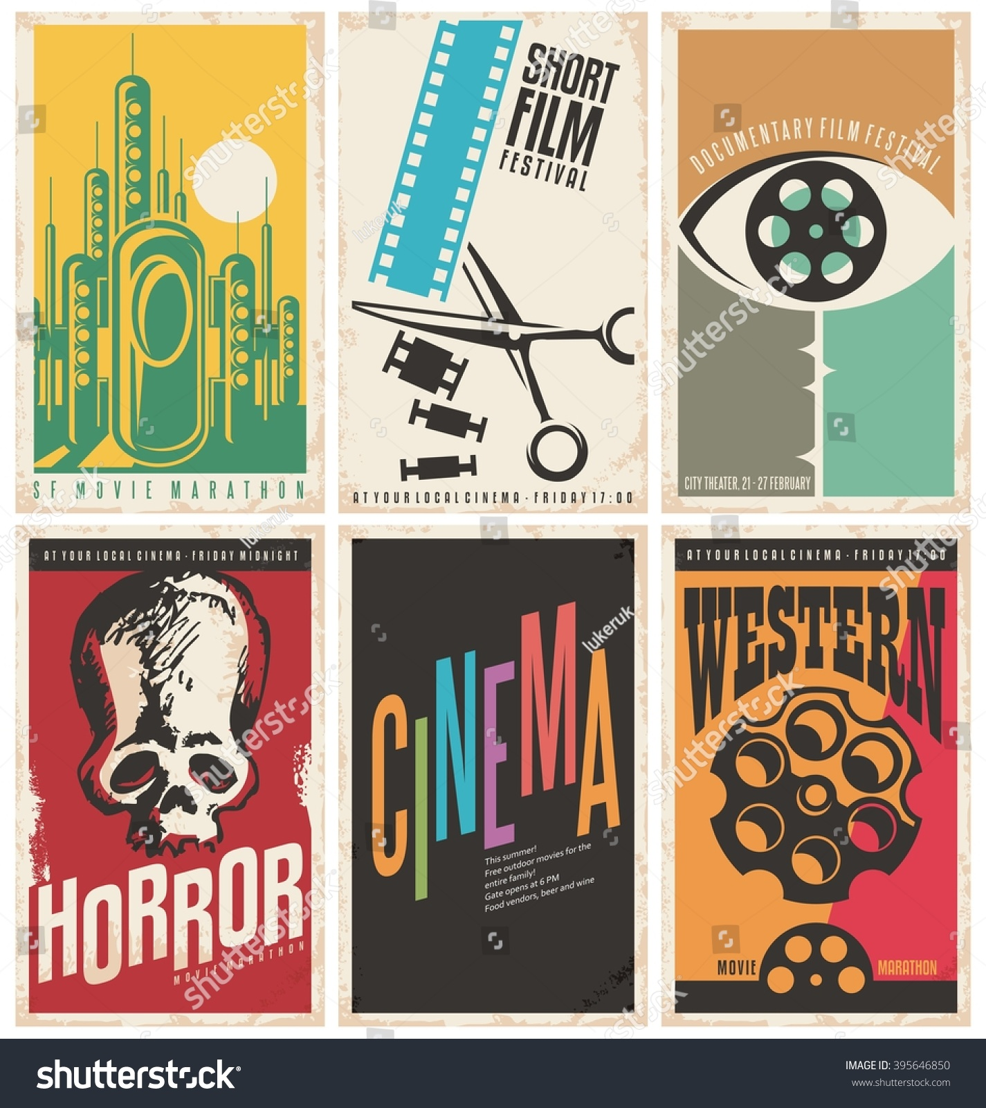Collection Retro Movie Poster Design Concepts Stock Vector