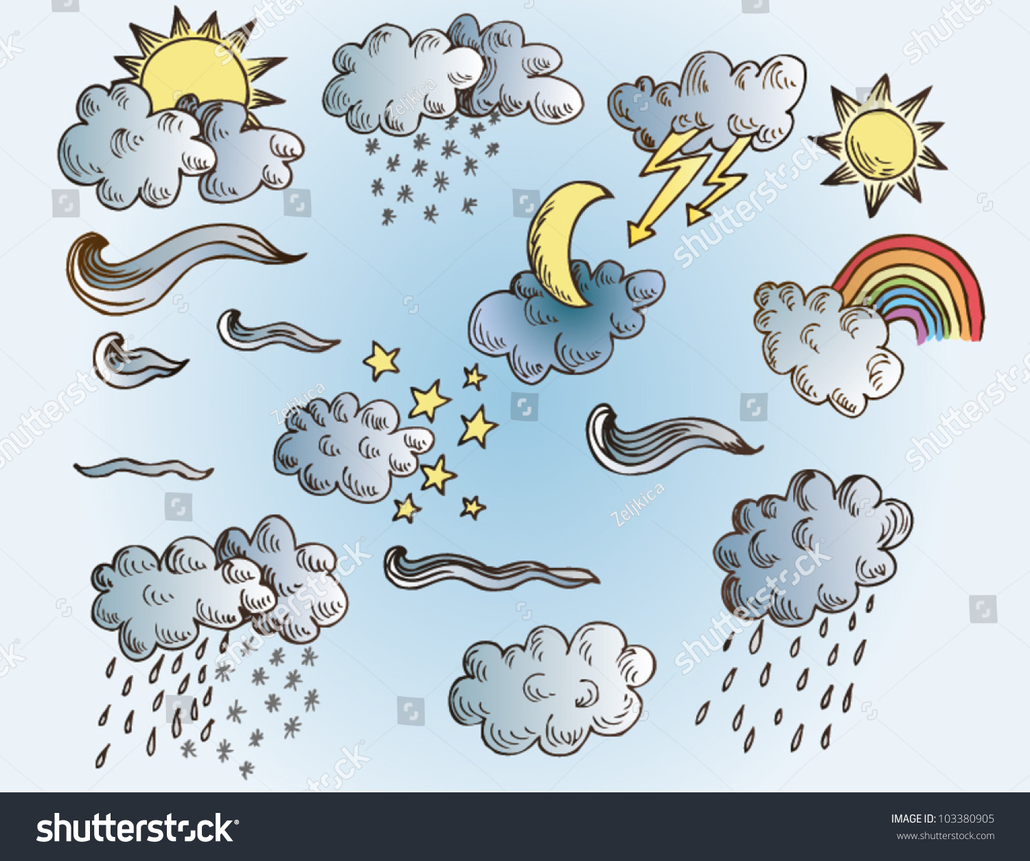 Collection Vector Weather Symbols Clouds Sun Stock Vector