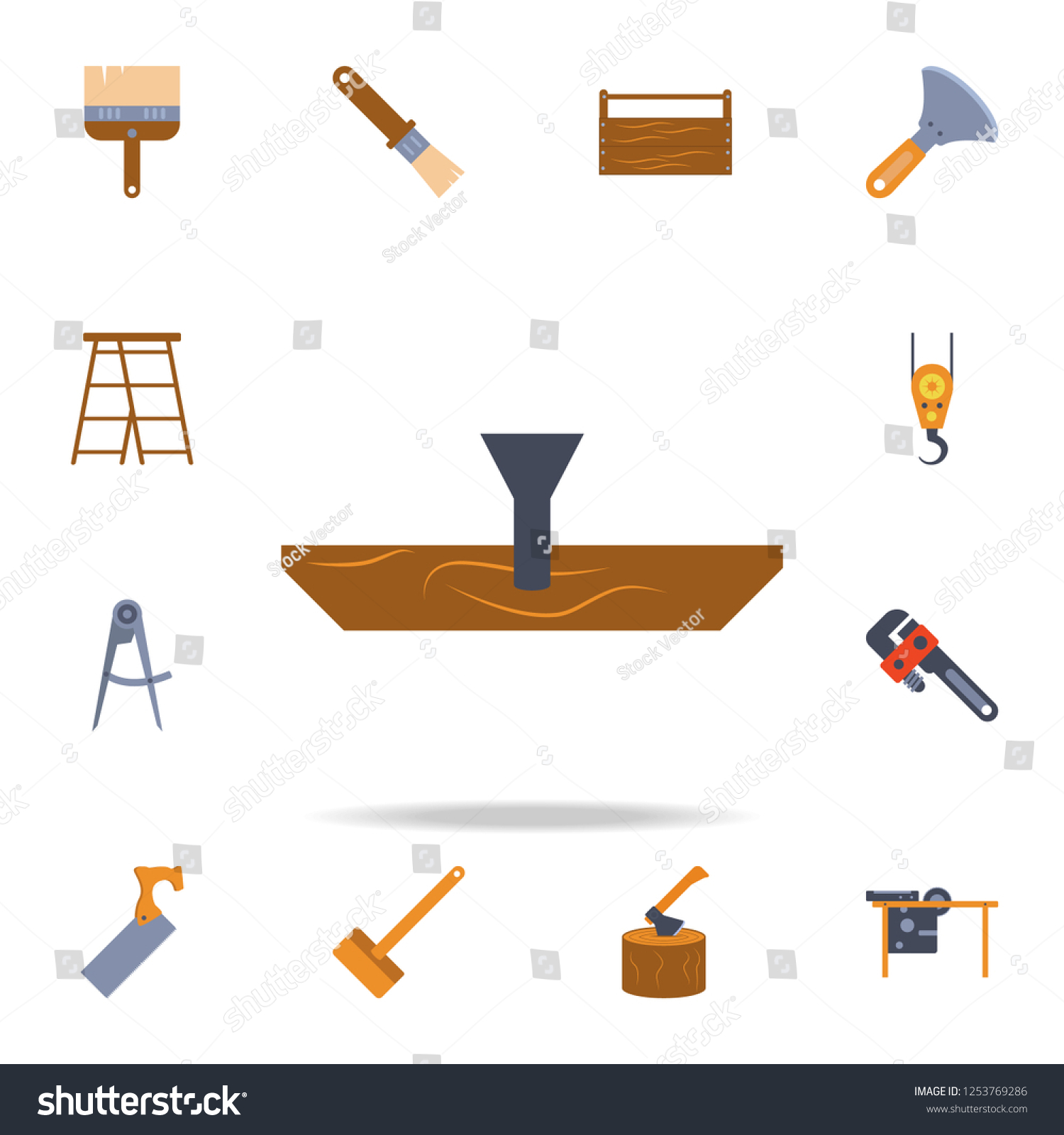 hight resolution of color a nail in a tree icon detailed set of color construction tools premium