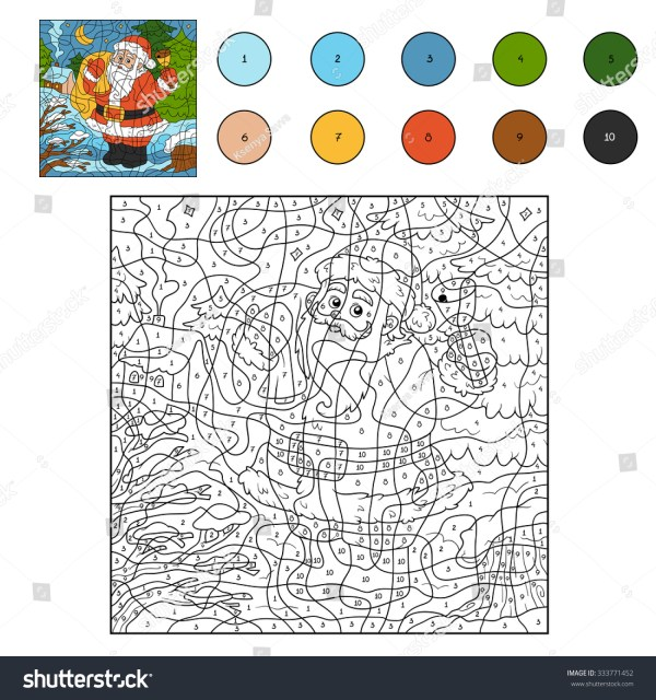 Color By Number Game Children Santa Stock Vector 333771452