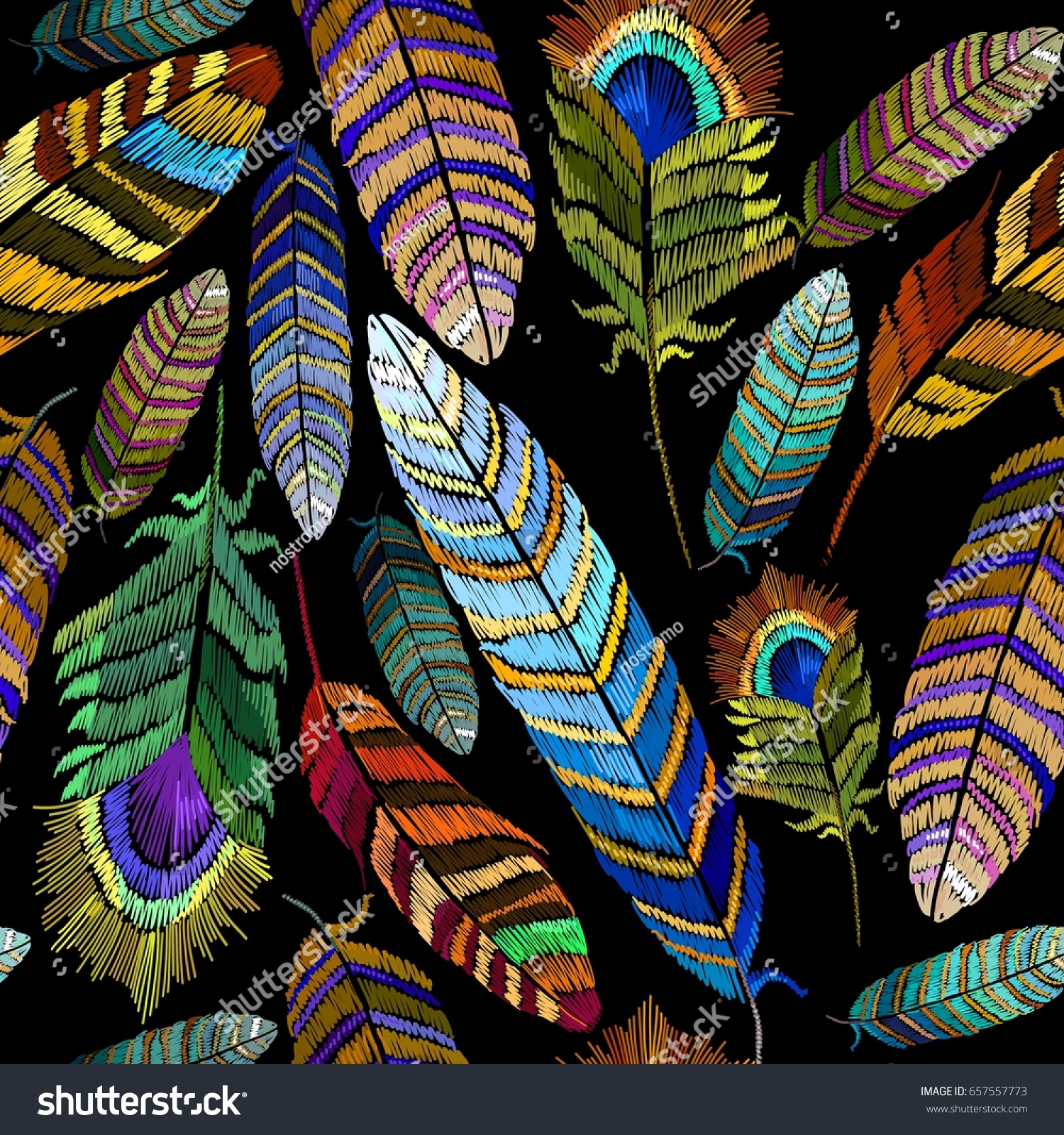 Color Feathers Embroidery Seamless Pattern Beautiful Stock