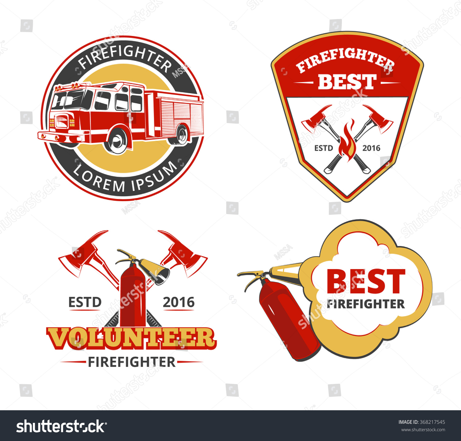 Color Firefighter Emblems Labels Badges Vector Stock Vector