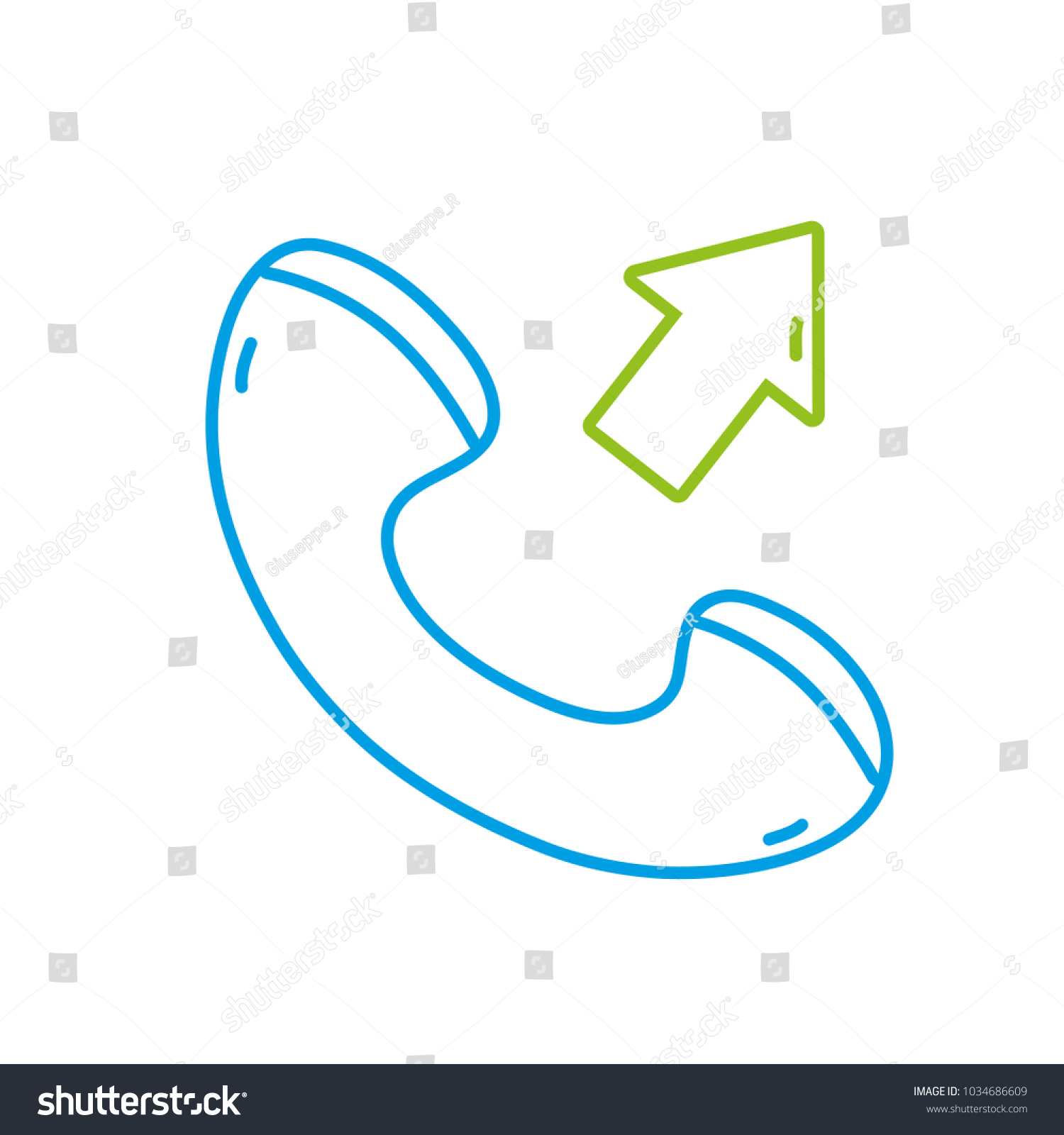 hight resolution of color line phone call received sign telephone icon