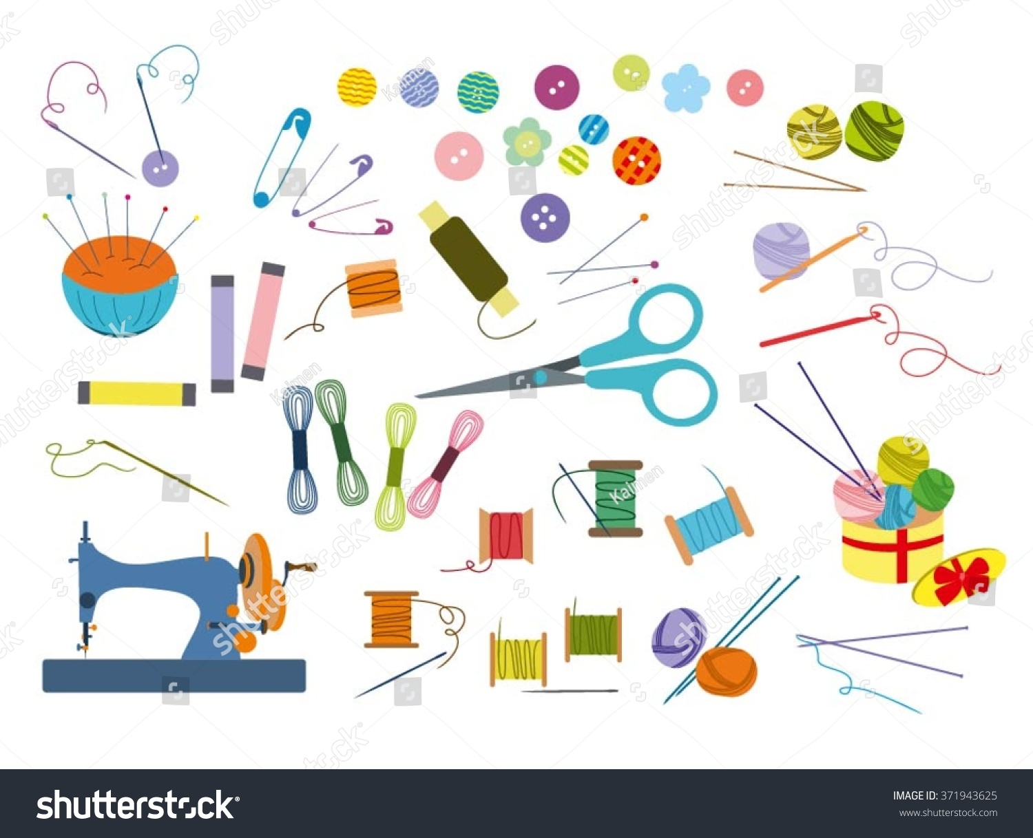 Color Set Of Objects For Sewing Handicraft Sewing Tools