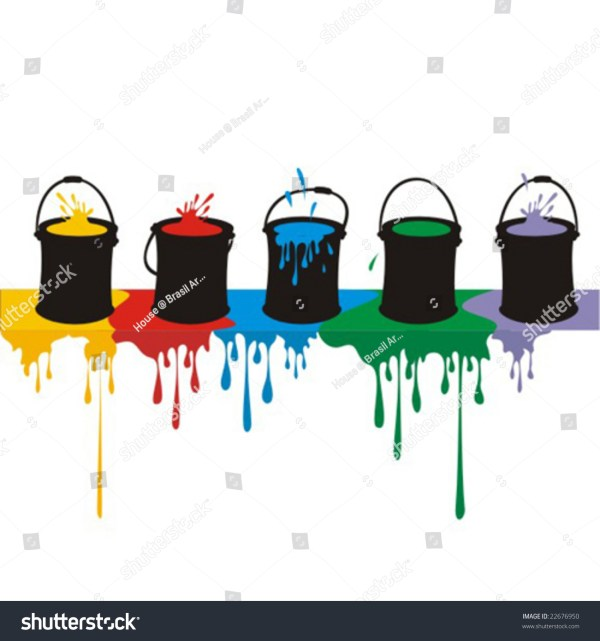 Colored Cartoon Silhouettes Row Paintcans Shedding Stock Vector 22676950 - Shutterstock