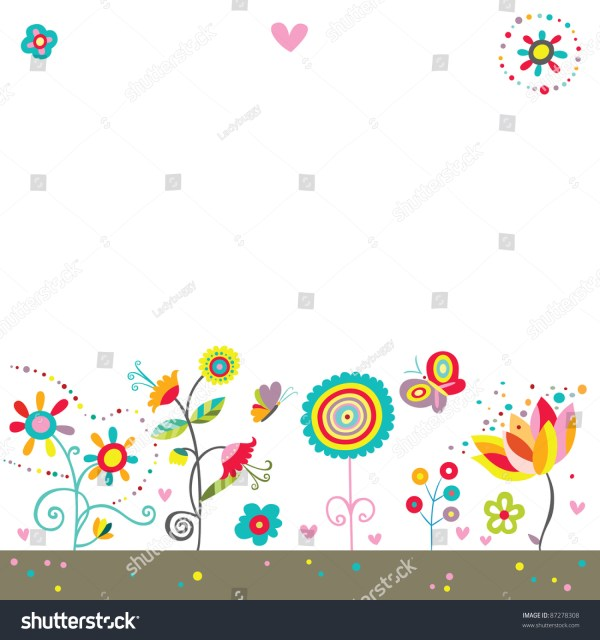 Colorful Background With Whimsical Flowers Butterflies