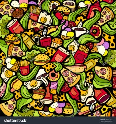 doodle background colorful bright fastfood theme food fast pattern vector abstract wallpapers creative shutterstock hipwallpaper