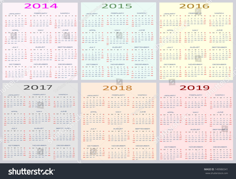 editable 2015 2019 calendar