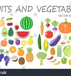 colorful fruits and vegetables clipart set fruit and vegetable colored cartoon vector collection  [ 1500 x 1062 Pixel ]