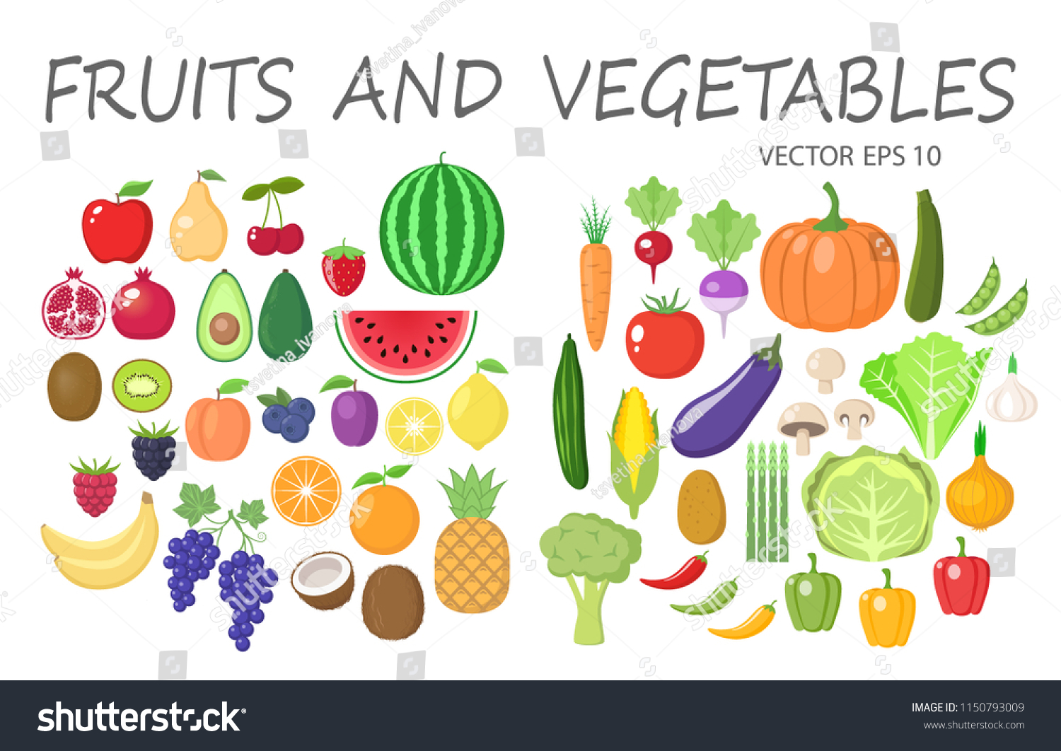 hight resolution of colorful fruits and vegetables clipart set fruit and vegetable colored cartoon vector collection