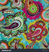 Colorful Paisley Seamless Pattern Blue Pink Stock Vector ...