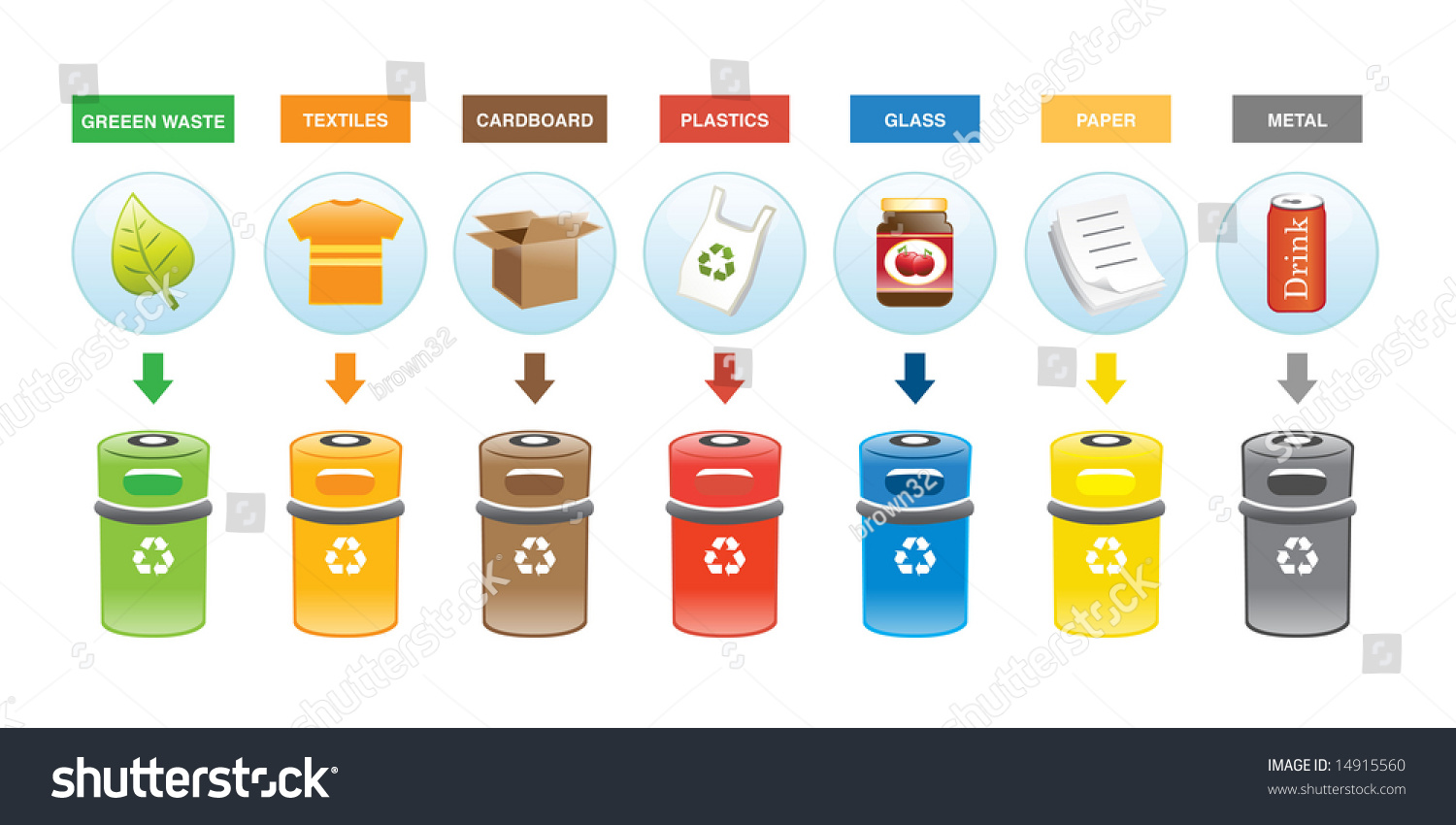 Colorful Recycling Bins Stock Vector