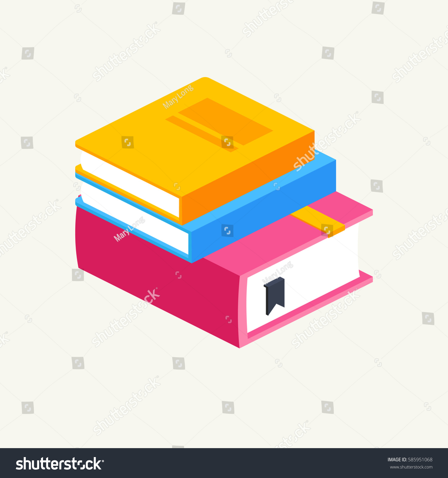 Colorful Stack Three Books Isometricvector Illustration