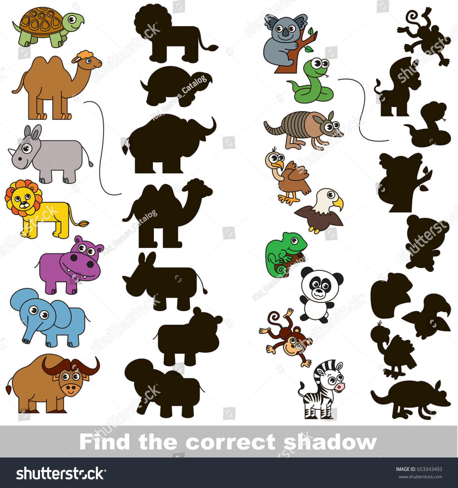 Colorful Wild Animals Set Different Shadows Stock Vector