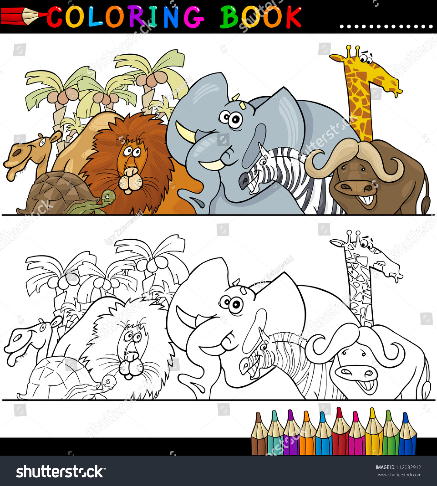 Coloring Book Or Page Cartoon Illustration Of Funny Wild