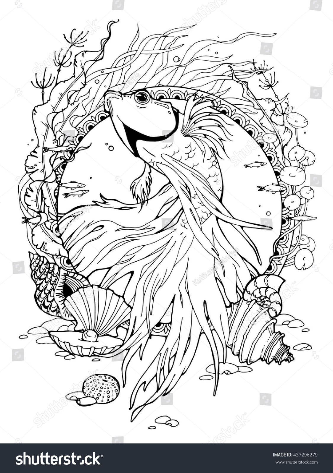 Coloring Page About Betta Fish Different Stock Vector 437296279