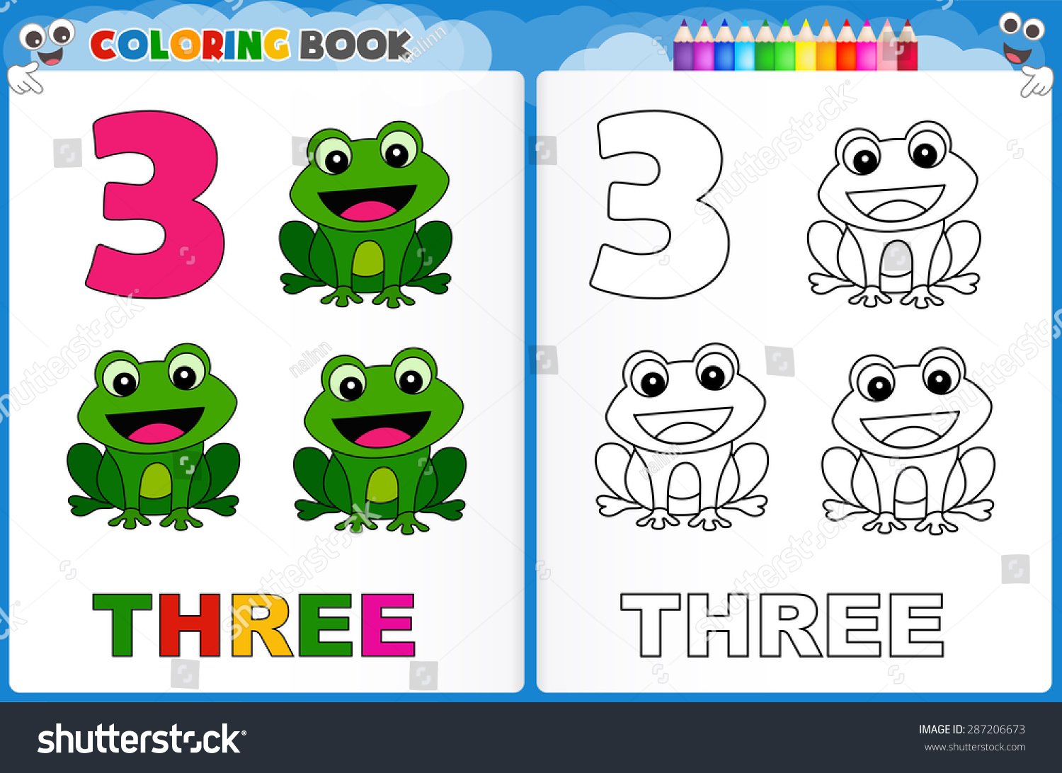 Coloring Page Number Three Colorful Sample Stock Vector