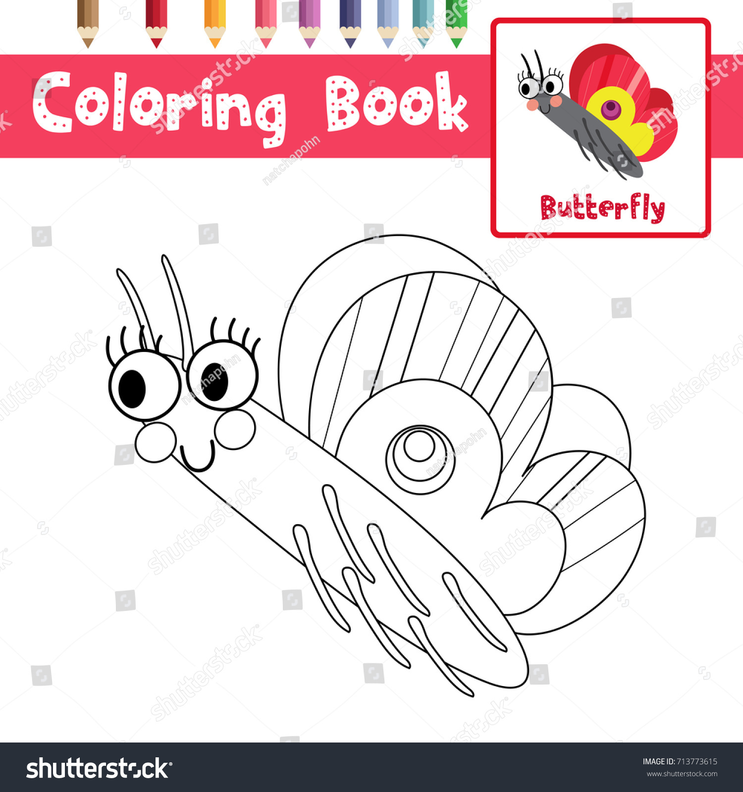 Coloring Page Butterfly Side View Animals Stock Vector