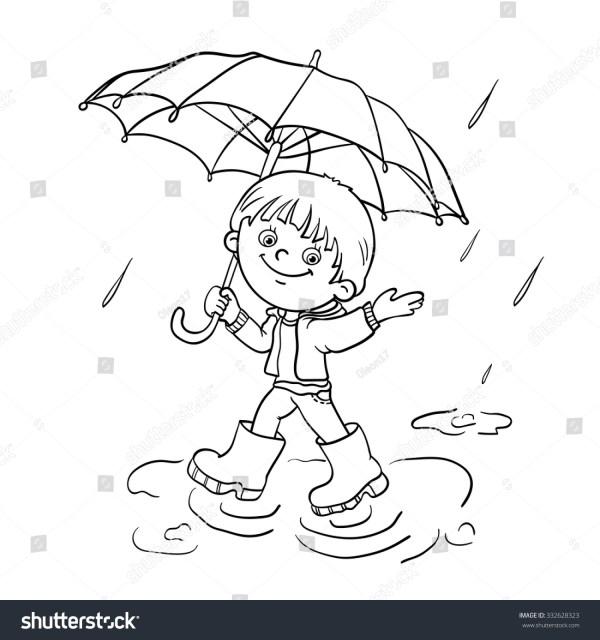 Coloring Page Outline Cartoon Joyful Boy Stock Vector 332628323 - Shutterstock