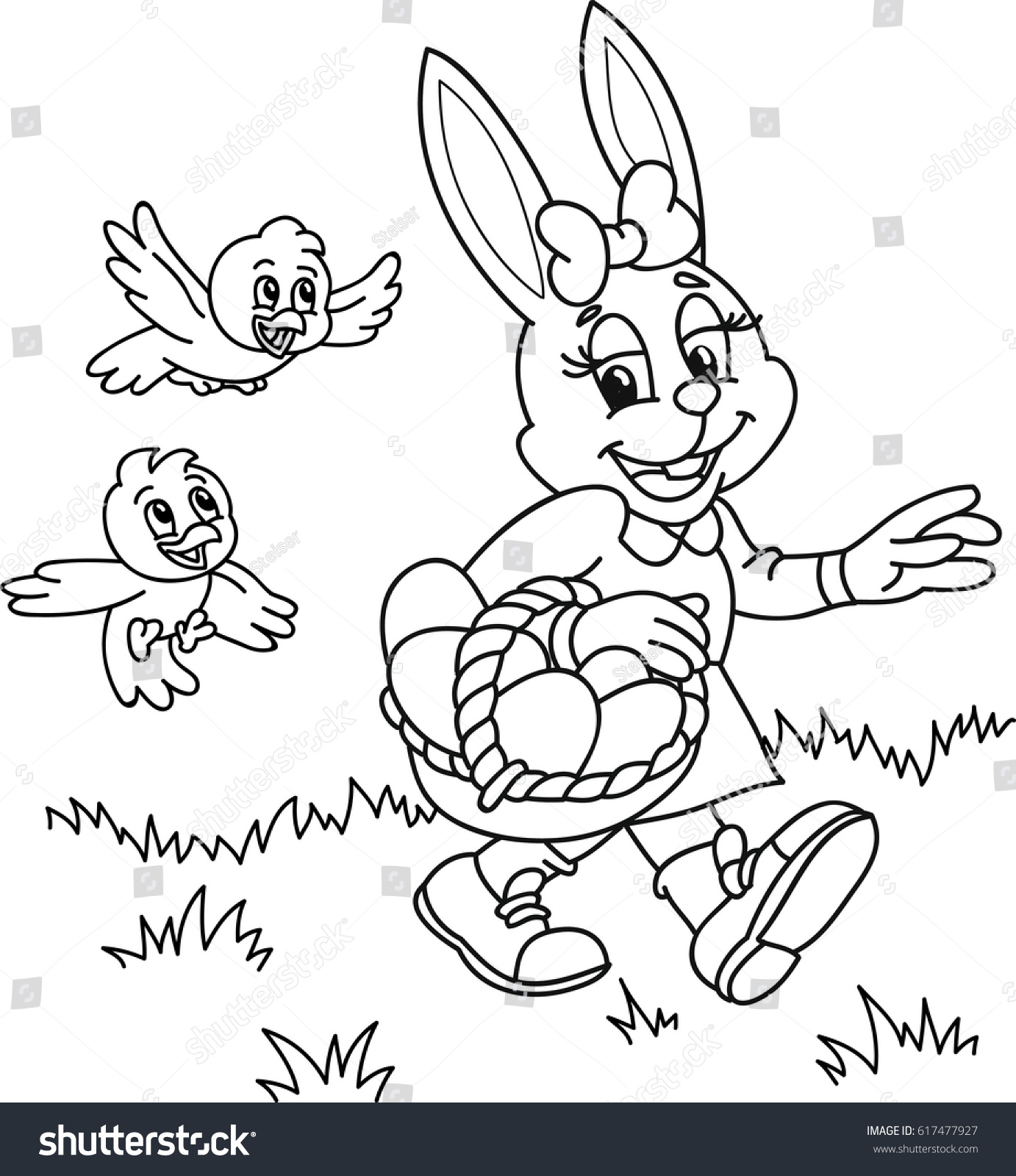 Coloring Page Outline Cartoon Easter Bunny Stock Vector