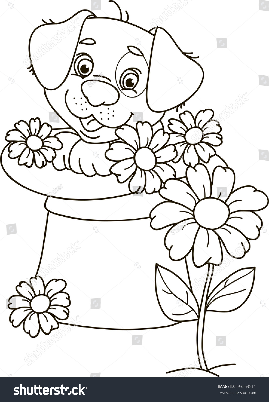 Coloring Page Outline Cartoon Puppy Dog Stock Vector