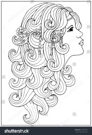 coloring page with girl long
