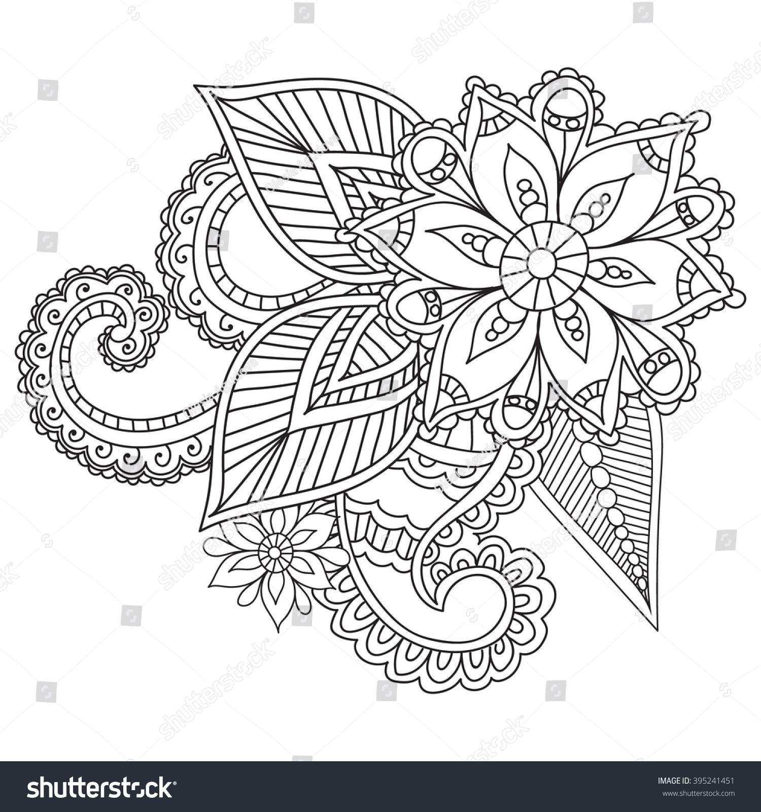 Henna Paisley Flower Coloring Page | Patrones Para Bordar Embroidery ...