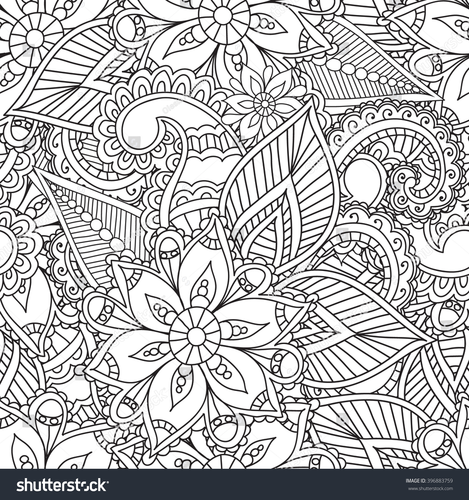 Coloring Pages Adultsseamless Patternhenna Mehendi Doodles