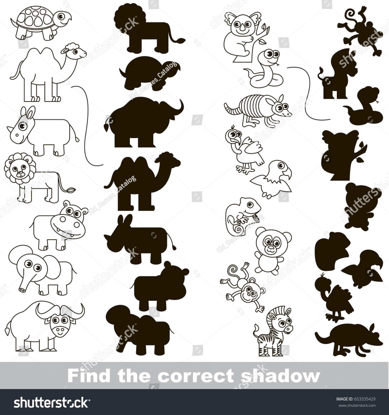 Colorless Wild Animals Set Different Shadows Stock Vector