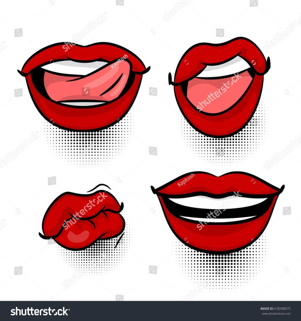 medium resolution of comics book girl face body part kitch cartoon girl lipstick label funny mood emotion