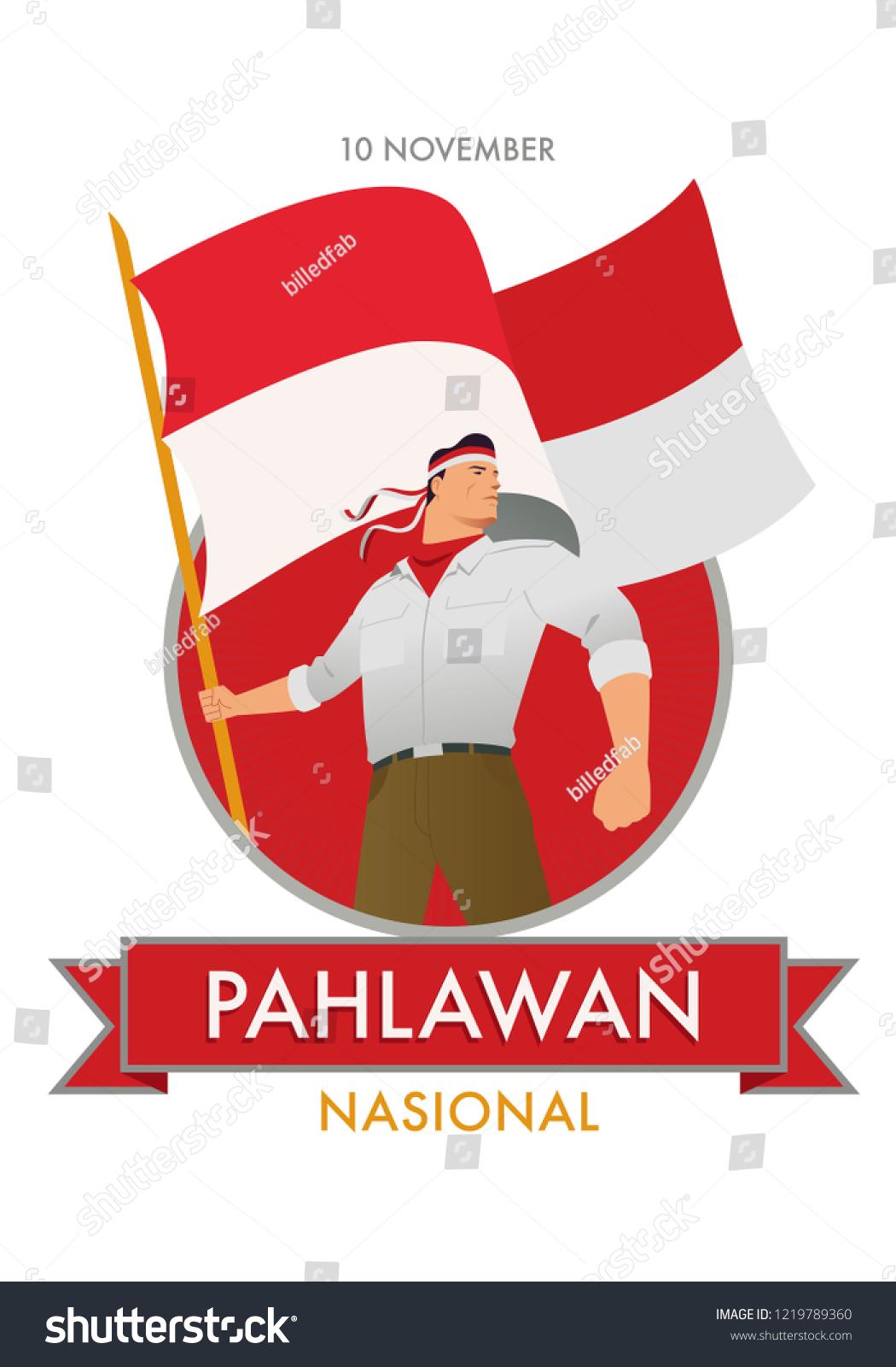 Pejuang Indonesia Vector : pejuang, indonesia, vector, Commemorating, Pahlawan, Nasional, Indonesian, National, Heroes, Stock, Vector, (Royalty, Free), 1219789360