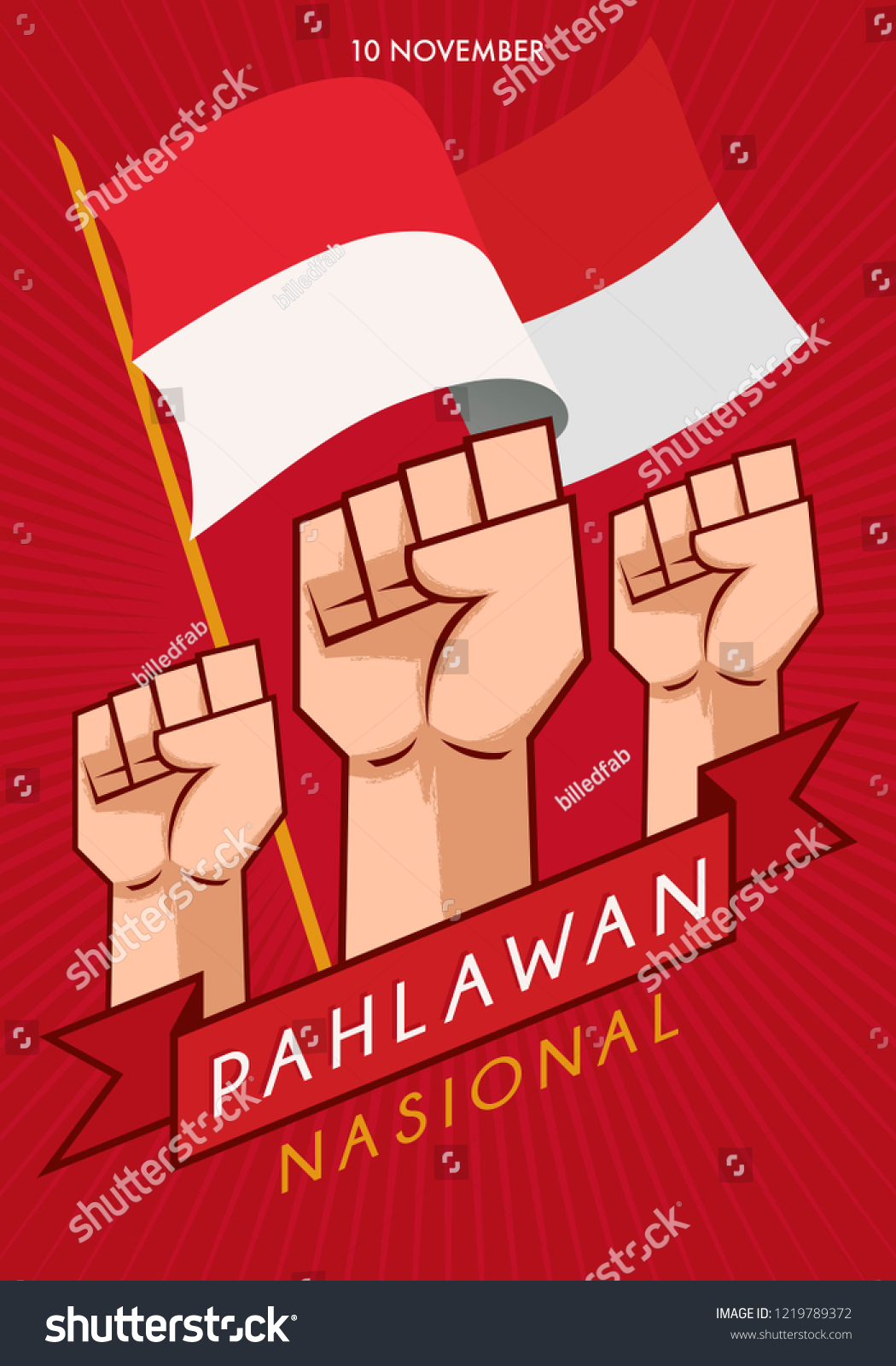 Background Hari Pahlawan : background, pahlawan, Commemorating, Pahlawan, Nasional, Indonesian, National, Heroes, Stock, Vector, (Royalty, Free), 1219789372