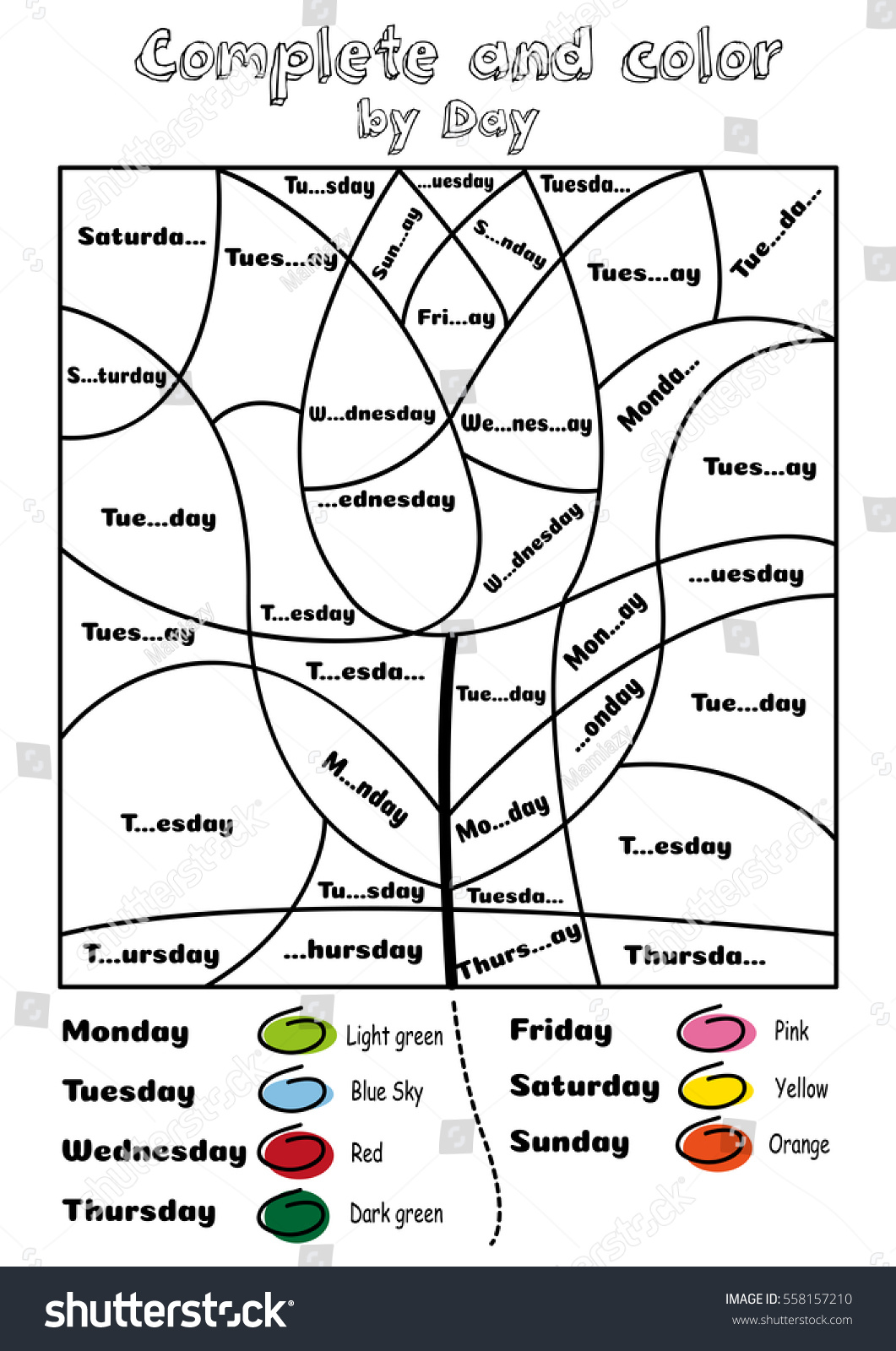 Complete Color By Days Week Exercise Vectores En Stock