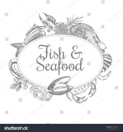 composition of fish and seafood the design concept for seafood shop or restaurant a [ 1500 x 1600 Pixel ]