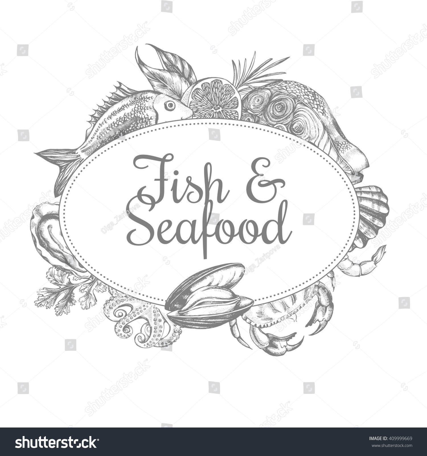 hight resolution of composition of fish and seafood the design concept for seafood shop or restaurant a