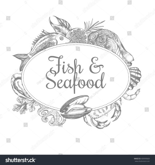 small resolution of composition of fish and seafood the design concept for seafood shop or restaurant a