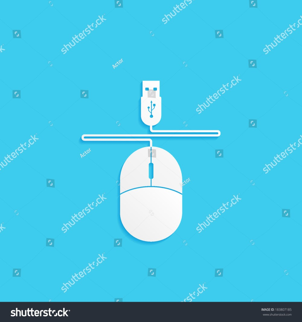 medium resolution of computer mouse with wire and usb connector vector icon