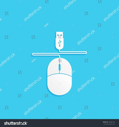 small resolution of computer mouse with wire and usb connector vector icon