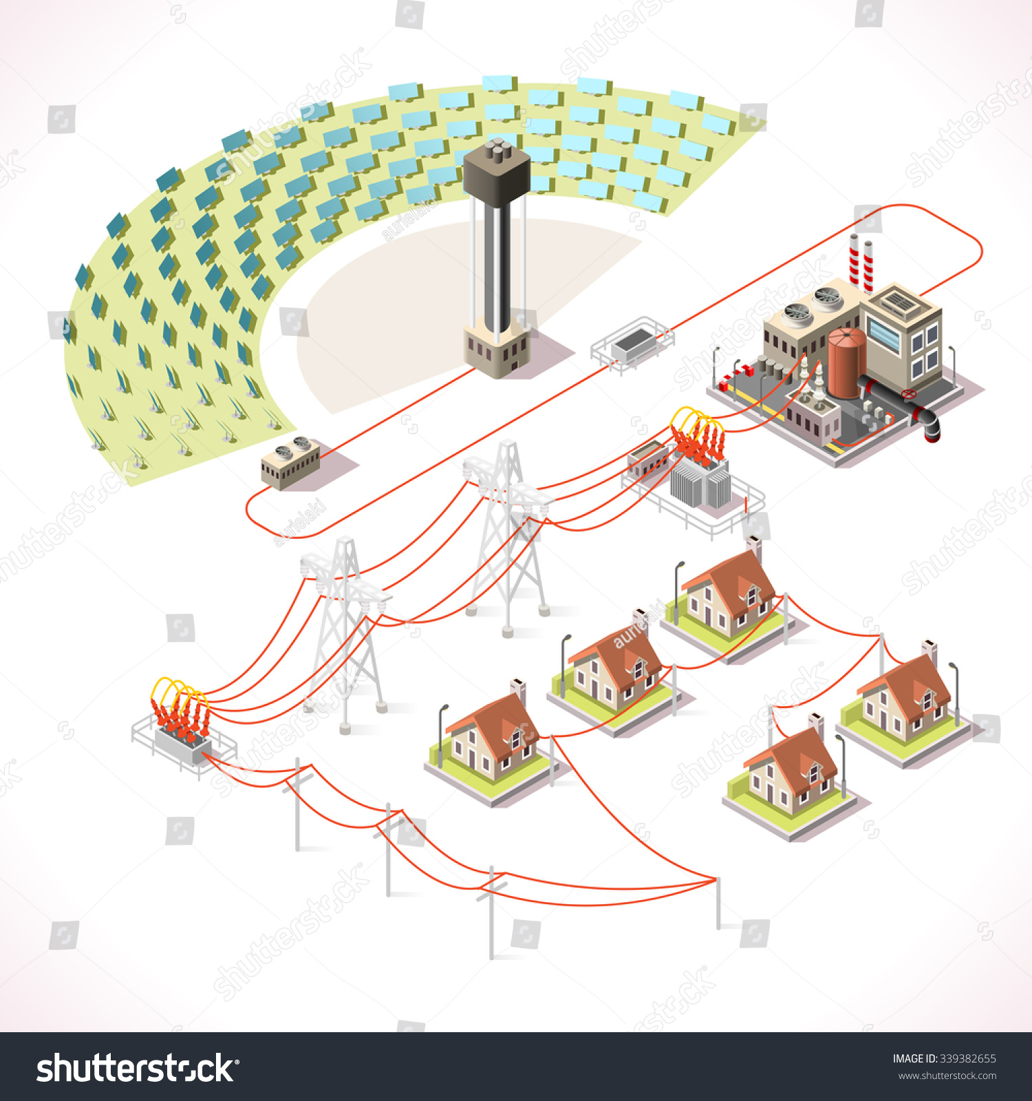 hight resolution of concentrating solar power system factory csp plant farm electric station infographic electricity grid supply chain