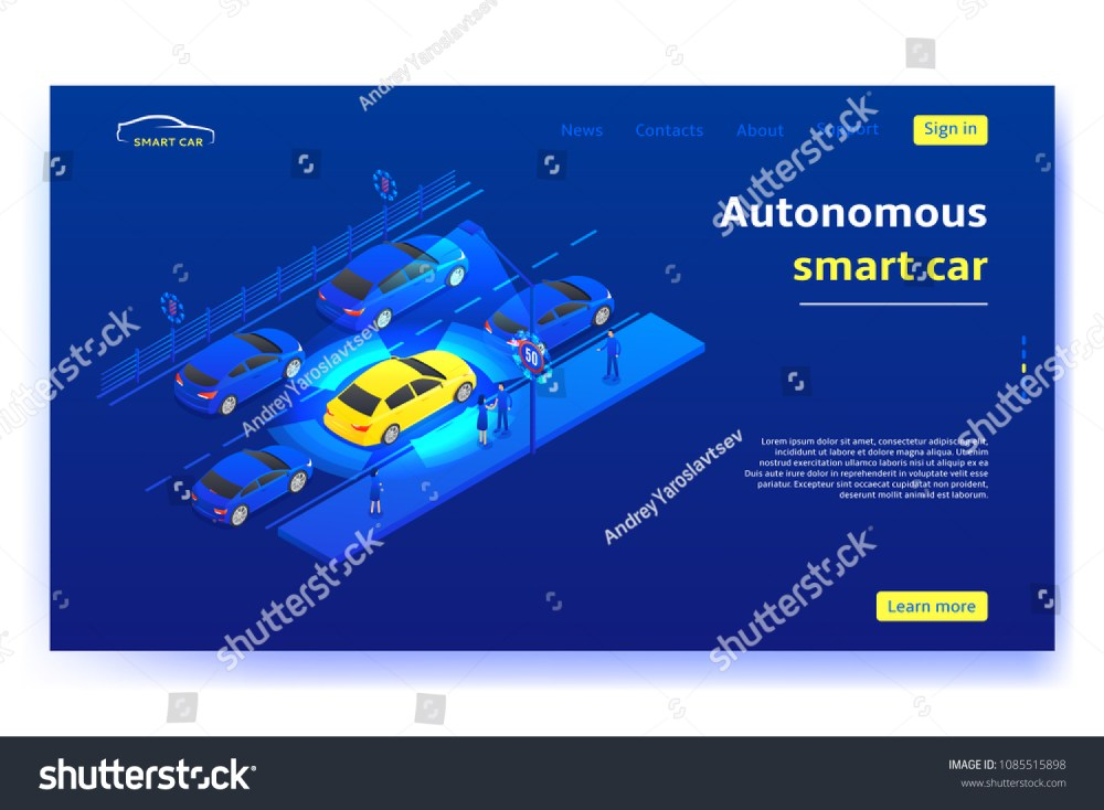 medium resolution of concept banner with autonomous smart car smart car moves on road and scans signs and